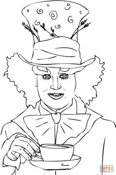 Mad Hatter Tea Party COLORING PAGES Pinterest Mad hatter tea