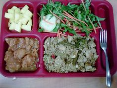 This lunch is: tofu stir fry with brown rice, sweet potatoes, pineapple, salad with fresh veggies