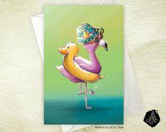 Carte de voeux Flamand rose et canard bouée Anniversaire Naissance