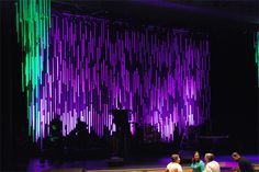 This design is lots of work but mega payoff. Peter Good at Glad Tidings Assembly of God in West Lawn, Pennsylvania brings us this drizzly masterpiece. Assemblies Of God, Church Stage Design, Stage Lighting, Lighting Ideas, Stage Decorations, Stage Set, Thing 1, Design Inspiration, Auditorium