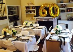 A Gold themed birthday (with black and white stripe accents) : 60th Birthday Party Ideas for Mom