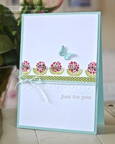 Card using Bright Blossoms from Stampin' Up, this is absolutely awesome have to case for a card class!