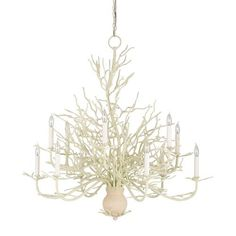 Currey & Company Seaward White Coral/Natural Sand Twelve Light Chandelier.  White Coral/Natural Sand Finish 37 Inches High 39 Inches Wide 12 - 60 Watt Candelabra Bulbs Interior Dry Rated UL Listed