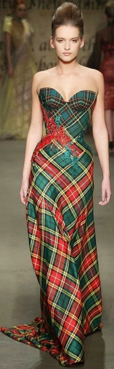 Tartan: somehow this dress is gorgeous; fantastic shape certainly helps