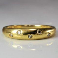 Stunning Gypsy Set Scattered Flush Diamond Wedding or Anniversary Band Estate Engagement Ring, Engagement Wedding Ring Sets, Diamond Bands, Diamond Cuts, Right Hand Rings, Anniversary Bands, Modern Jewelry, Cross Pendant, Natural Diamonds