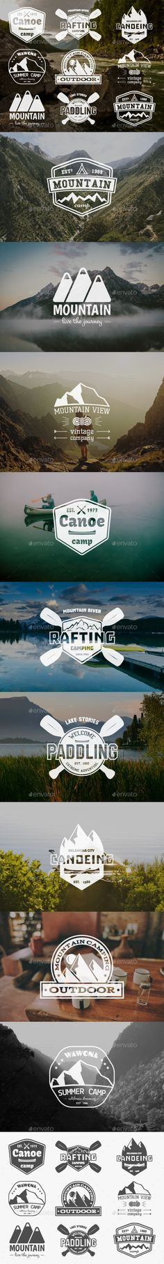 9 Outdoor Badges and Labels. - Badges & Stickers Web Elements
