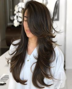 Dark Brown Hair with Long Swoopy Layers Cute Long Haircuts, Long Layered Haircuts, Cute Hair Cuts Long, Easy Hair Styles Long, Long Hair Short Layers, Choppy Layers, Work Hairstyles, Easy Hairstyles For Long Hair, Hairstyle Ideas