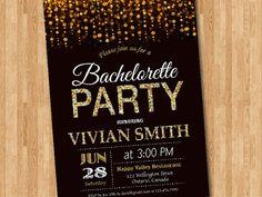 Bachelorette Party Invitation. Gold Glitter by arthomer on Etsy