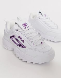 Fila Disruptor II sneakers in white with metallic purple ASOS Purple Sneakers, Cute Sneakers, Purple Shoes, Girls Sneakers, Girls Shoes, Shoes Sneakers, Yeezy Shoes, Hype Shoes, On Shoes