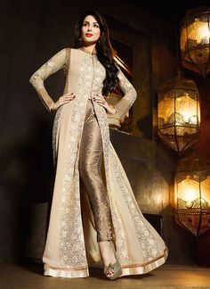 Shop Malaika Arora Khan Georgette Beige and Cream Designer Suit Bridal/wedding wear suit online from India with free worldwide shipping offer