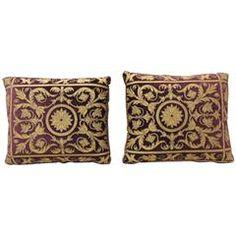 Pair of Italian Applique Silk Velvet Pillows