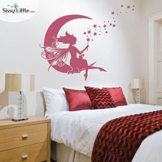 Moon Fairy Vinyl Wall Decal by SissyLittle on Etsy #sissylittle #walldecal #fairy