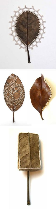 crocheted Leaves???  Weird....but so darn ORIGINAL & different!!