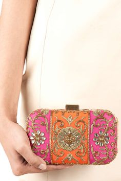Fuchsia and orange colour block floral clutch available only at Pernia's Pop-Up Shop.