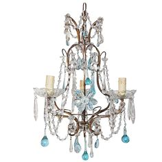 "French Aqua Crystal Prisms, Drops and Flowers Chandelier, circa 1920 1st dibs, $3,000, 14"" diameter, 20"" high"