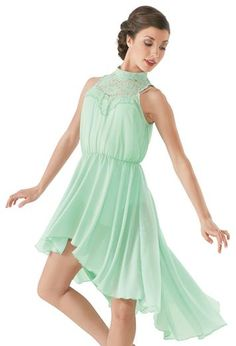 High-Low Lace Neck Overdress - this is such a pretty dance costume you could even wear to a party cause it's a pretty dress! I want to wear this outfit every day Cute Dance Costumes, Dance Costumes Lyrical, Lyrical Dance, Ballet Costumes, Dance Leotards, Latin Dance, Dance Outfits, Dance Dresses, Contemporary Dance Costumes