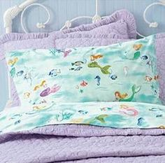 mermaid sheets - I like the idea of the fun sheets with solid color sheets