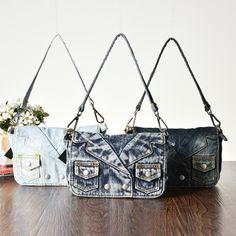 (34.80$)  Buy here - http://aizun.worlditems.win/all/product.php?id=32735128686 - Rivet Vintage 3D Design Coat Fashion Denim Jeans Shoulder Bags Girls Handbags Crossbody Bag Women Messenger Bags bolsa feminina