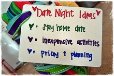 Date Night ideas in a jar. Need ideas for your date night? Just pull a popsicle stick out of the jar and see what activity it is! #datenight #love #DIY