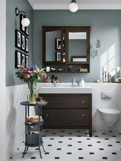 reforma sin obras bao mueble de lavabo en madera oscura