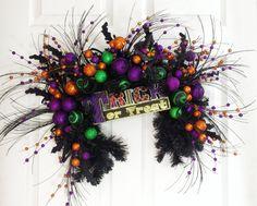 Halloween Wreath * Halloween Swag * Halloween Decor * Black Swag * Trick or Treat Swag * Whimsical Wreath * Front Door Wreath * Black Wreath by englishrosedesignsoh on Etsy