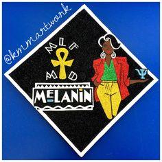 Graduation Cap Design - Glitter Art - 90s Theme - Melanin - KMM Artwork - Psychology