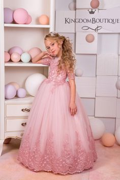 Blush Pink Lace Tulle Flower Girl Dress  Wedding party