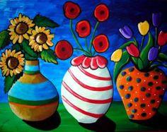 3 Fun Funky  Flowers Vases Floral Fun by reniebritenbucher on Etsy