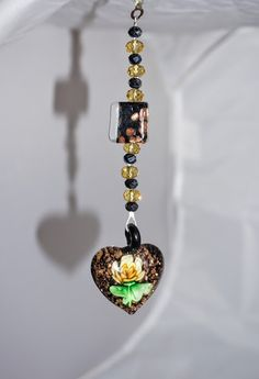 Black Heart, Yellow Floral, Glass Pendant Lampwork, Crystal, Unique, Handcrafted, One of a kind, Promo Code by EarthDreamsbySunLi on Etsy