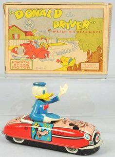 Tin Litho Marx Disney Donald Duck the Driver Toy.