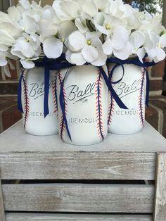 A personal favorite from my Etsy shop https://www.etsy.com/listing/465835472/baseball-theme-mason-jar-centerpeice