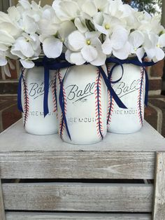A personal favorite from my Etsy shop https://www.etsy.com/listing/465835472/baseball-theme-mason-jar-centerpeice
