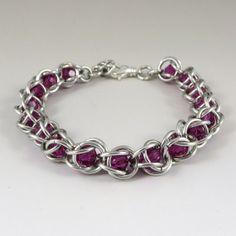 Chainmail Bracelet Swarovski Crystal Passions by HCJewelrybyRose, $19.00