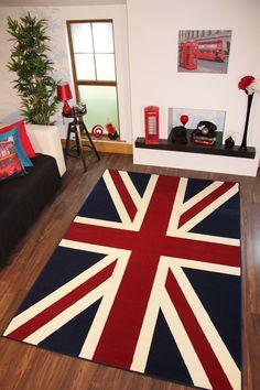 LARGE UNION JACK BRITISH MODERN RUG RED WHITE BLUE RUG 120x170cm