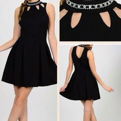 NEW Classy rhinestone collar cut out black dress Perfect little black dress for your wardrobe. This dress has a beautiful collar cut out rhinestone neckline. Material: 95% poly, 5% spandex, lining: 100% poly131. Available in S, M and L. Pink Peplum Boutique Dresses