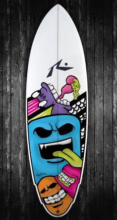 Surfboard Art by Felipe Marostica, via Behance Surfboard Painting, Surfboard Art, Big Wave Surfing, Stick Art, Vintage Surf, Skate Surf, Surf City, Painted Boards, Medium Art