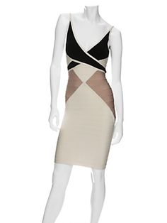 Gorgeous Herve Leger colorblock dress.  Not that it is in my budget - I'd have to find a knockoff!