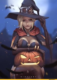 Witch Mercy,Mercy (Overwatch),Overwatch,Blizzard,Blizzard Entertainment,фэндомы,Nibel ART,Overwatch art