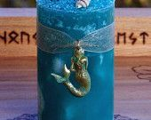SEA SIREN Selkie Mermaid Blue Pillar Candle w/ Seashells, Sea Moss, Orchid, Jasmine, More for Water Magick, Transformation, Shapeshifting