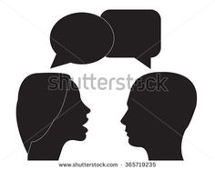 Communication and interpretation icon. male and female head and speech bubble .