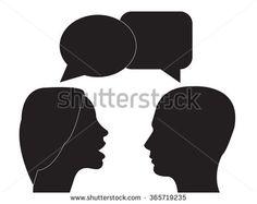 Communication and interpretation icon. male and female head and speech bubble .