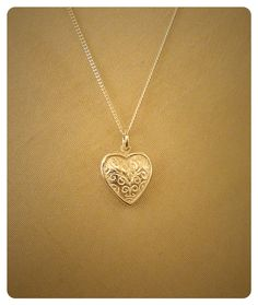 Fine silver clay double sided filigree heart pendant