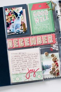 Alexes Marie Brown - December Daily What to do with that crazy middle strip. wonderfully creative with the DECEMBER. [ Good idea for other types of layouts] Christmas Mini Albums, Christmas Journal, 25 Days Of Christmas, Christmas Scrapbook, Christmas Minis, December Daily 2014, Hello December, Mini Scrapbook Albums, Scrapbook Paper Crafts