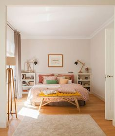 pretty bedroom palette + love the bench at the end of the bed!