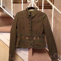 Miss Me Jacket Beautiful army green with studs everywhere . Hooks and eye inside can be worn open or can be closed . So great. Miss Me Jackets & Coats Blazers