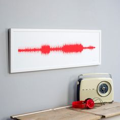Personalised sound wave print, using your favourite song. Unique birthday present for music lovers or as wedding or anniversary gift with a