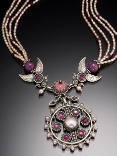 Vanessa Mellet necklace. Ruby, Rhodalite Garnet, Tourmalines, Rose Quartz, Pearls.   Vanessajewels.com