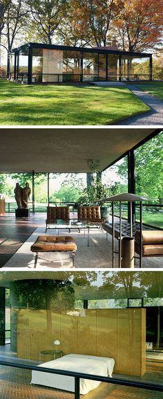 The Glass House by Philip Johnson New Canaan, CT. USA Exactly my taste and how I would want to live, right down to the furniture. Simple and elegant. Casas Containers, Modern House Design, Modern Glass House, Glass House Design, Space Architecture, Future House, Interior And Exterior, Beautiful Homes, Ct Usa