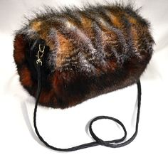 Brown Striped Feather and Cooper Red Faux Fur HAND MUFF with Leather Look pocket by FURMUFTA on Etsy
