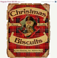 Christmas Candy Cookie Label Vintage Aged Tag Digital Download Printable Image Collage Scrapbook Sheet